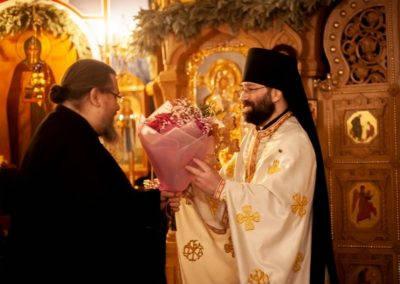 Клирики и прихожане подворья поздравили настоятеля, иеромонаха Давида, с днем Ангела